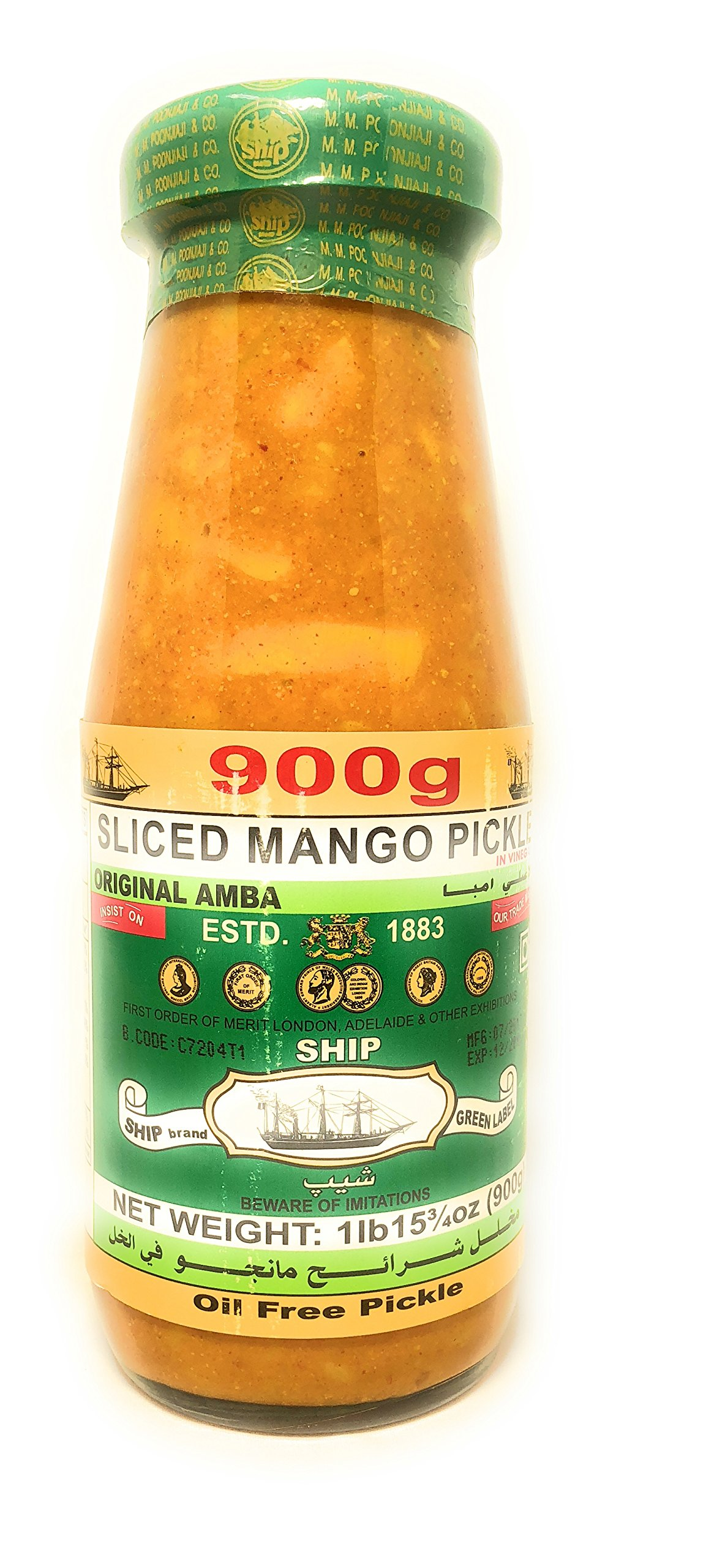 Ship brand Sliced Mango Pickle with natural vinegar, no oil, glass jar 900gram