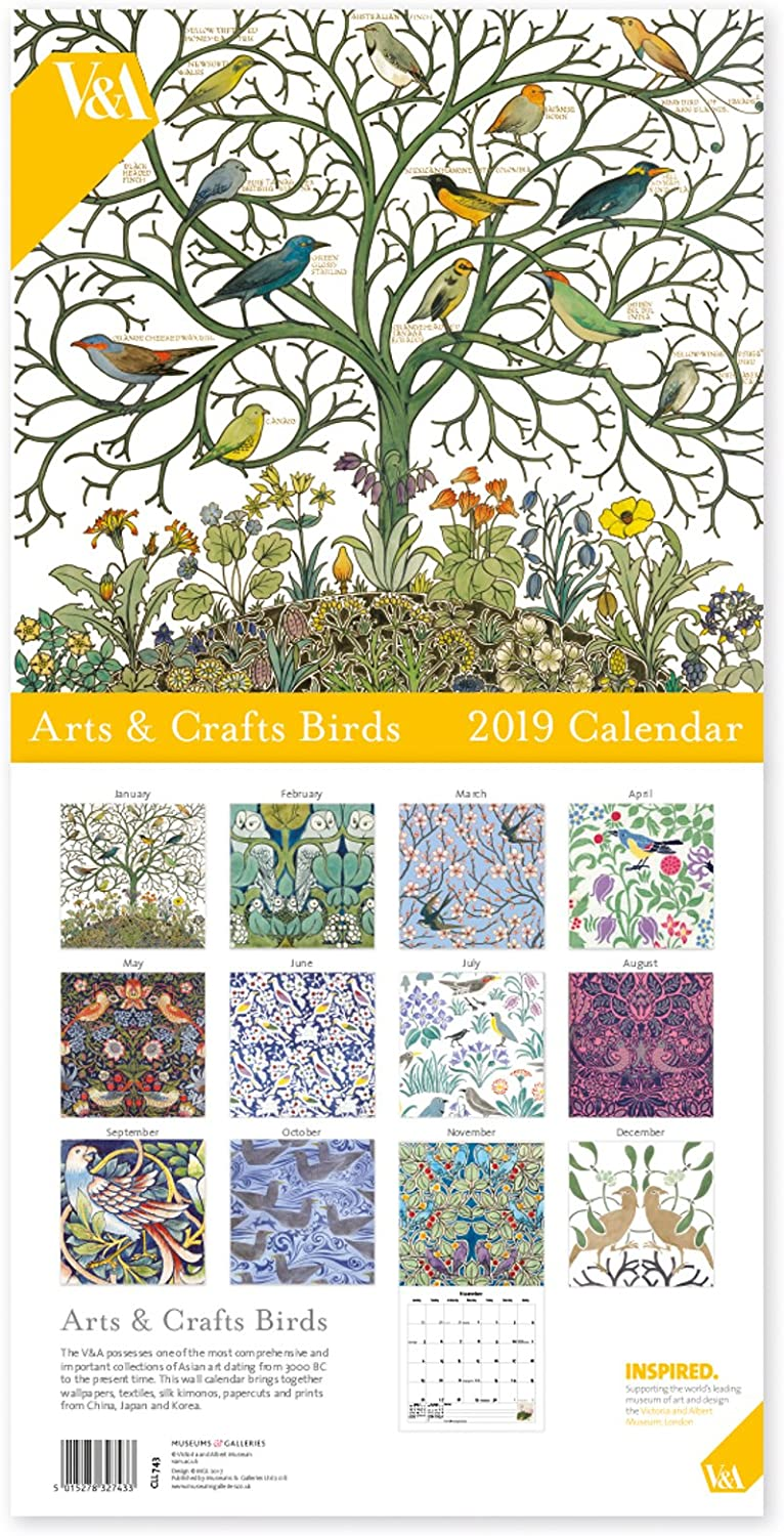 The V & A Museums & Galleries Arts & Crafts Birds Large 12 Month 2019 Wall Hanging Calendar for Home, Office, School