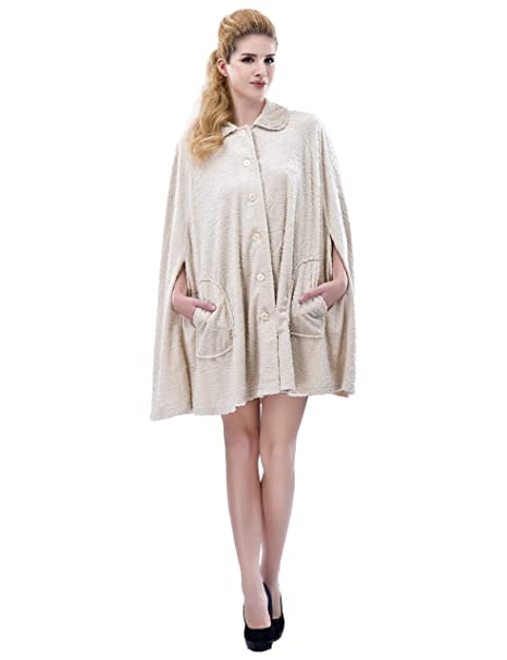 RAIKOU Damen Microfaser Fleece Coucher Poncho Nachthemd Oversize Schal One Size