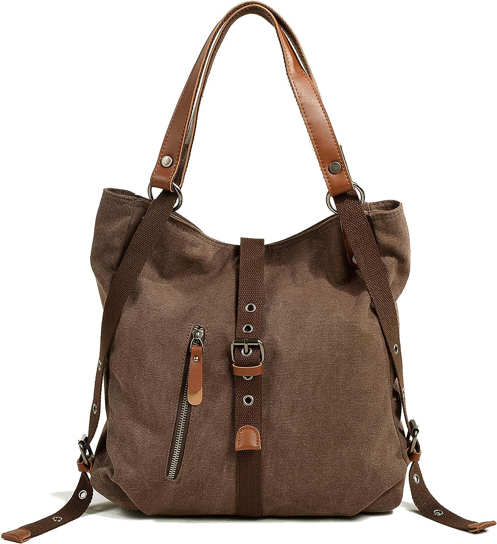 Neccuir Women's Dual-use Shoulder bag Rucksack Canvas Casual Vintage Hobo Daily Top Handle Handbag Satchel for Unisex