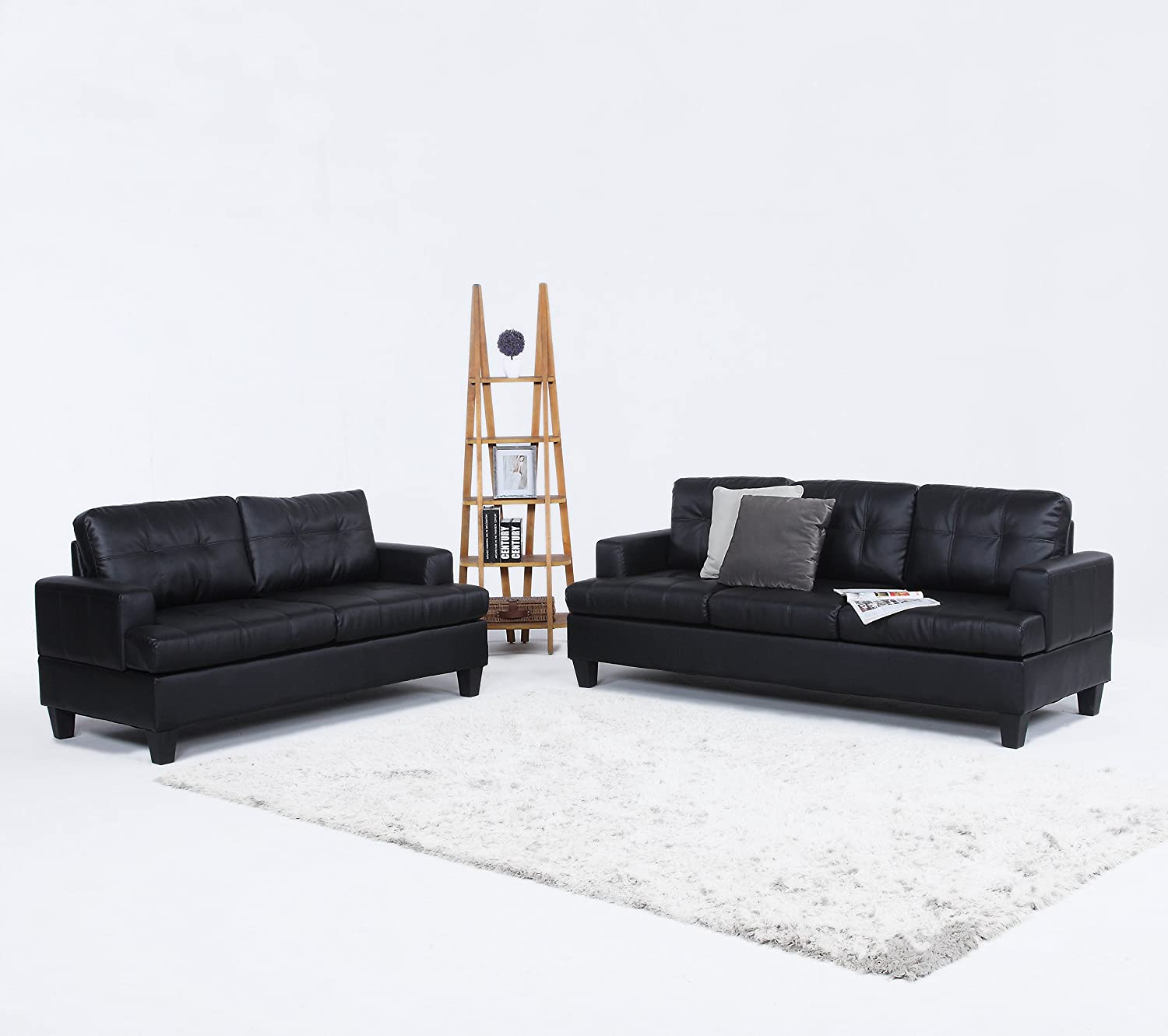 Amazon 2 Piece Modern Black Bonded Leather Sofa and Love Seat