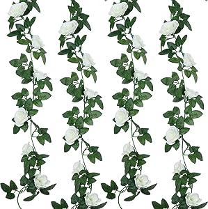 Syhood 2 Pieces Artificial Rose Garlands Rose Vines Leaves Hanging Garlands Fake Rose Flower Vine Home Wedding Party Decor, 14.4 ft (White)