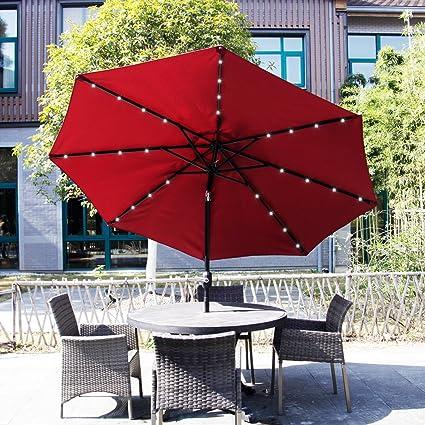 Bon Kinbor Outdoor 9FT Table Metal Solar Powered LED Lighted Patio Umbrella  Window Awning Garden Furniture,