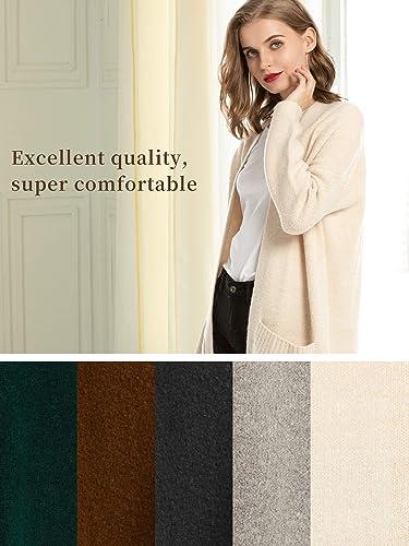 Woolen Bloom Cardigan Femme Long D/écontract/é Gilet Tricot/é Veste Ouvert Manches Longues Manteau avec Poches Hiver Chaud