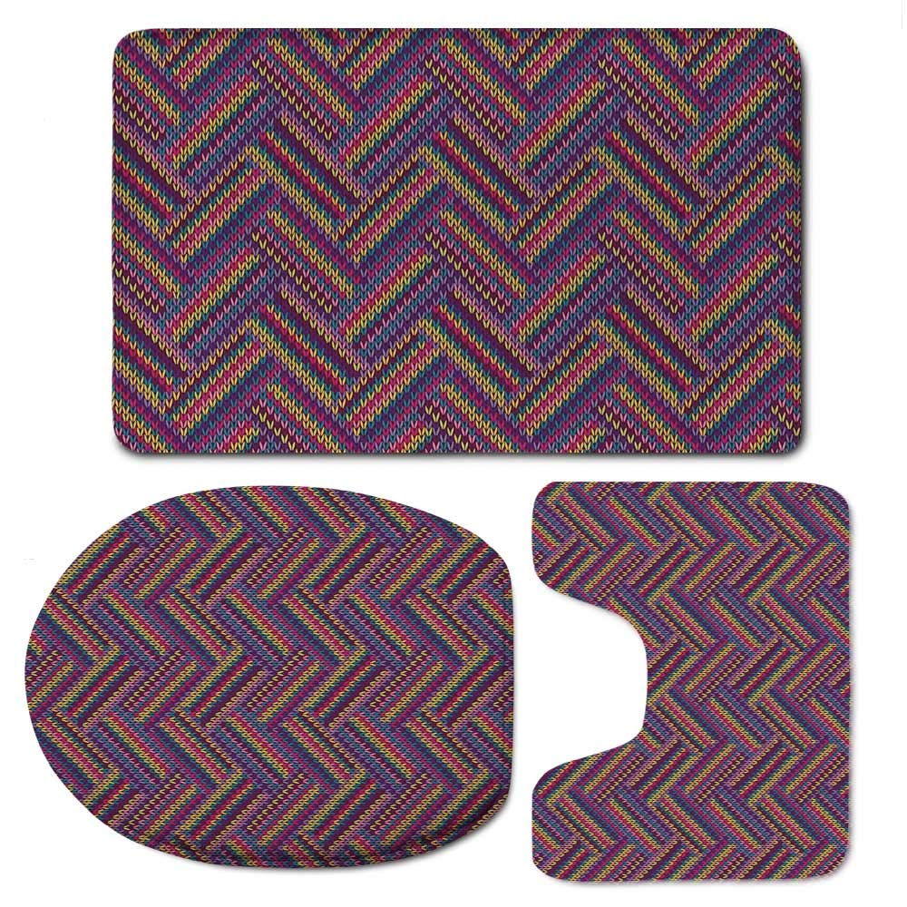 YOLIYANA Geometric Soft Bathroom 3 Piece Mat Set,Crossed Striped Zig Zag Chevron Pattern Knitted Effect Colorful Digital Print for Home,F:20'' W x31 H,O:14'' Wx18 H,U:20'' Wx16 H