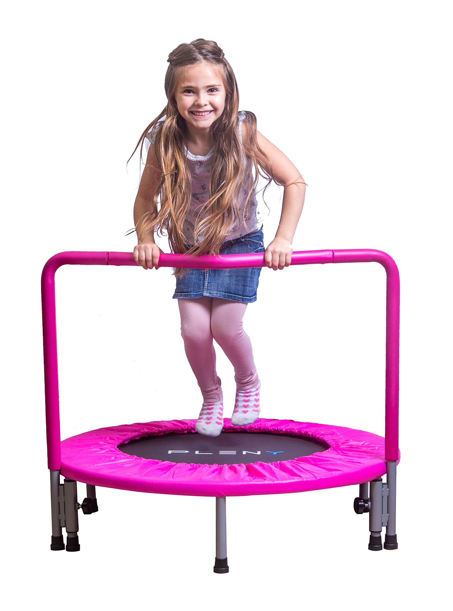 PLENY  36'' Girls Mini Trampoline with Balance Handrail, Exercise Trampoline for Kids (Princess Pink)