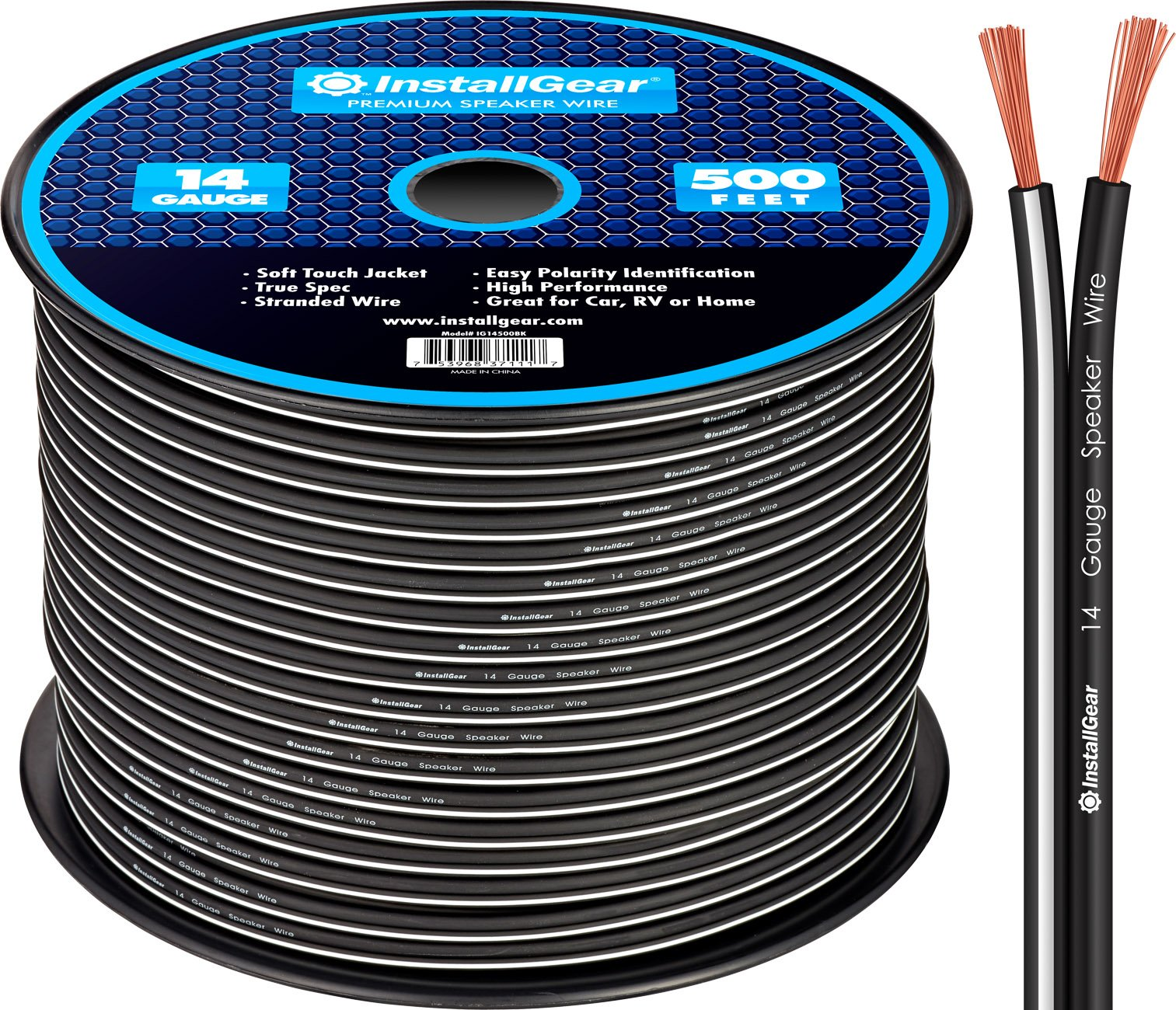InstallGear 14 Gauge AWG 500ft Speaker Wire Cable - Black