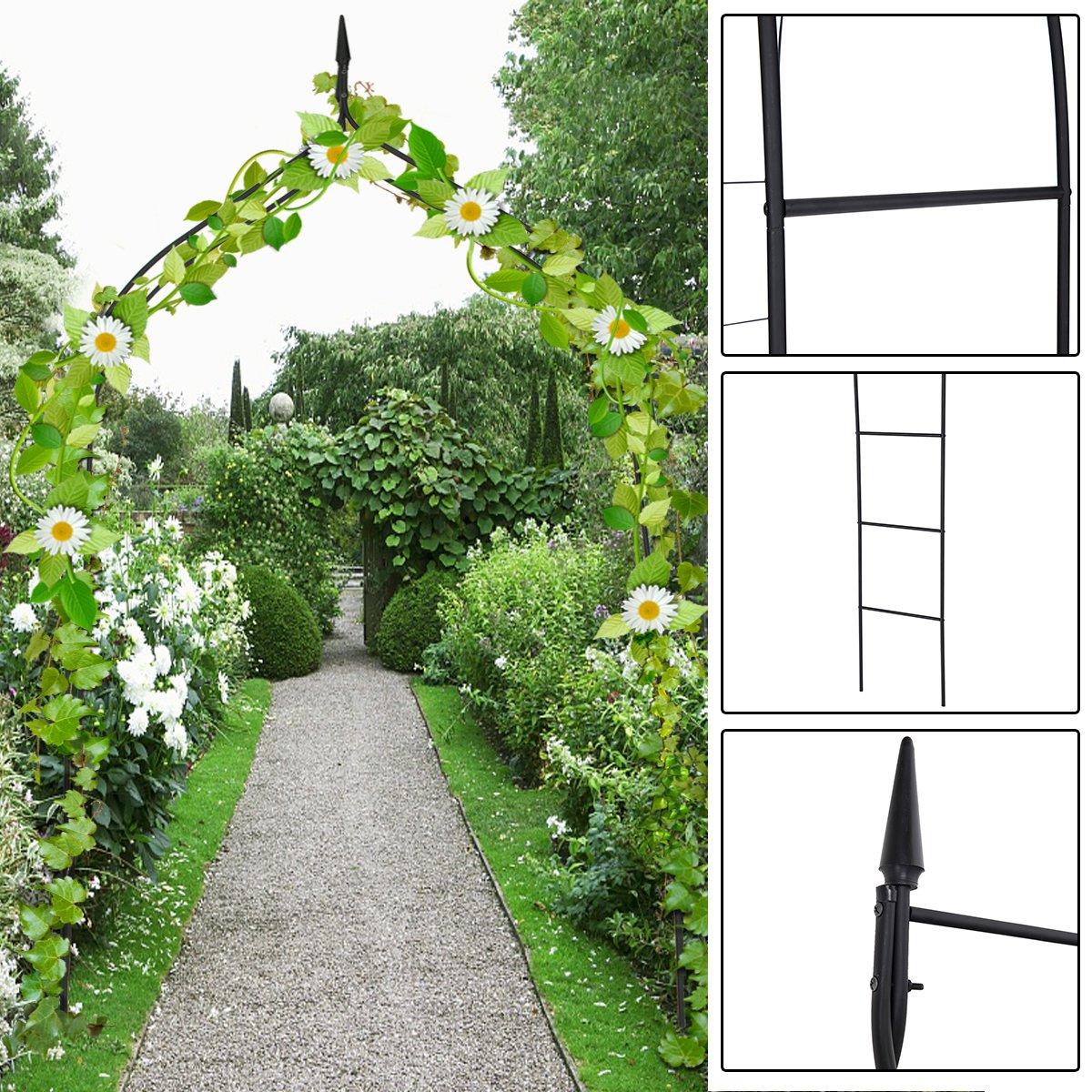 Costway 255CM Outdoor Arch Plants Gothic Arbor Trellis Lawn Path Archway Yard Backyard Garden