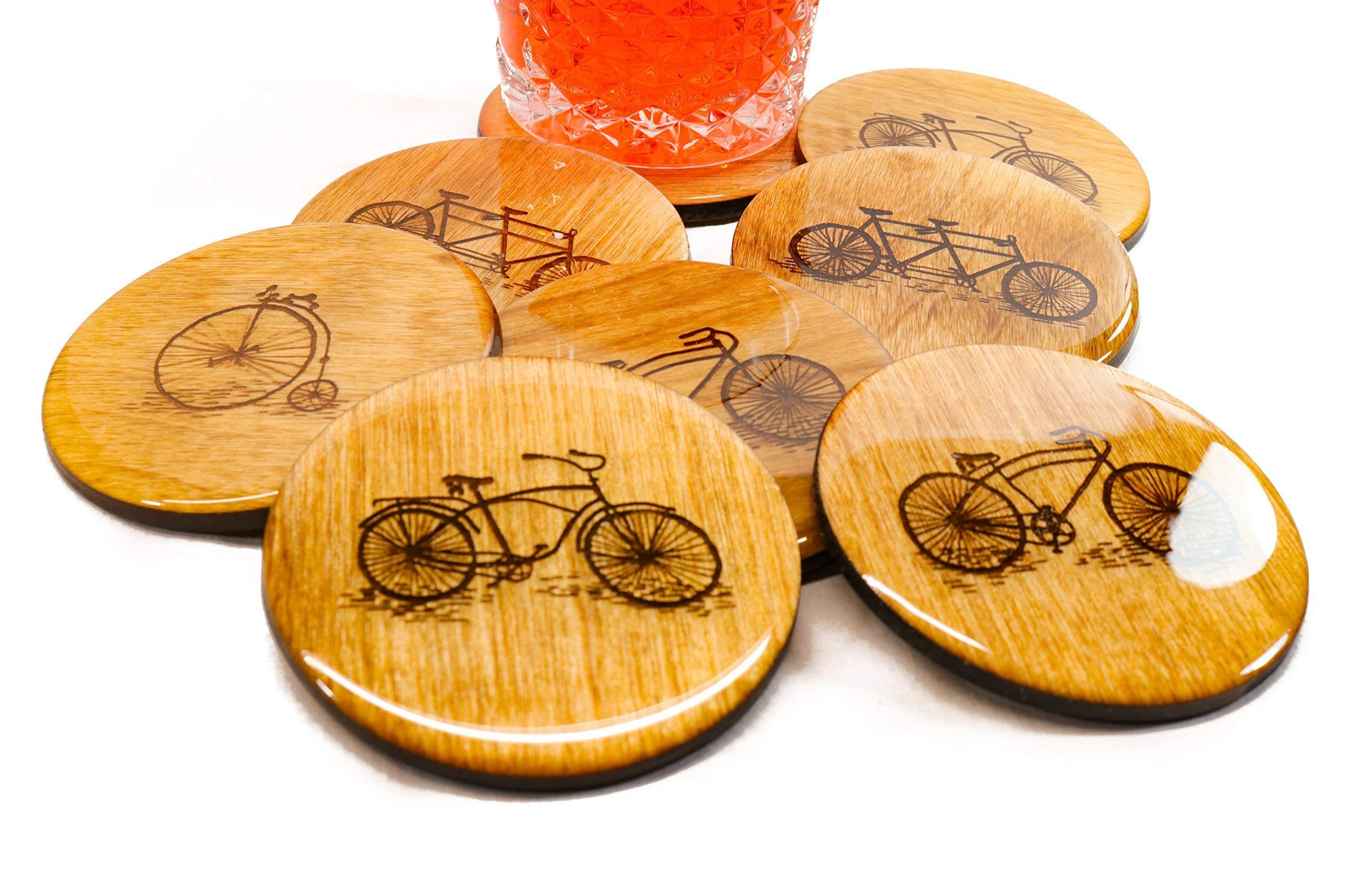 Set of 4 PREMIUM Bicycle Coasters - 3.5'' Wood Coasters High Gloss Finish Bike