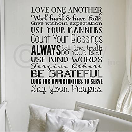 Amazon Com Love One Another House Rules Wall Sayings Vinyl