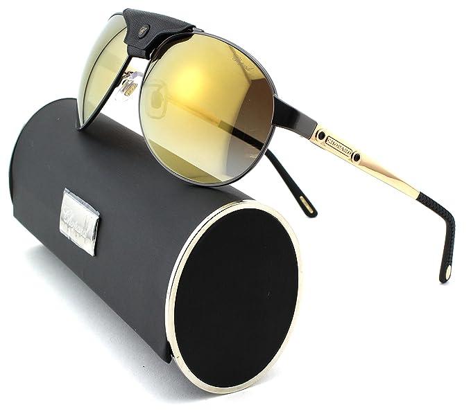 24d8aa87da0 Chopard SCH 932 Unisex Aviator Sunglasses (Black Gold Frame