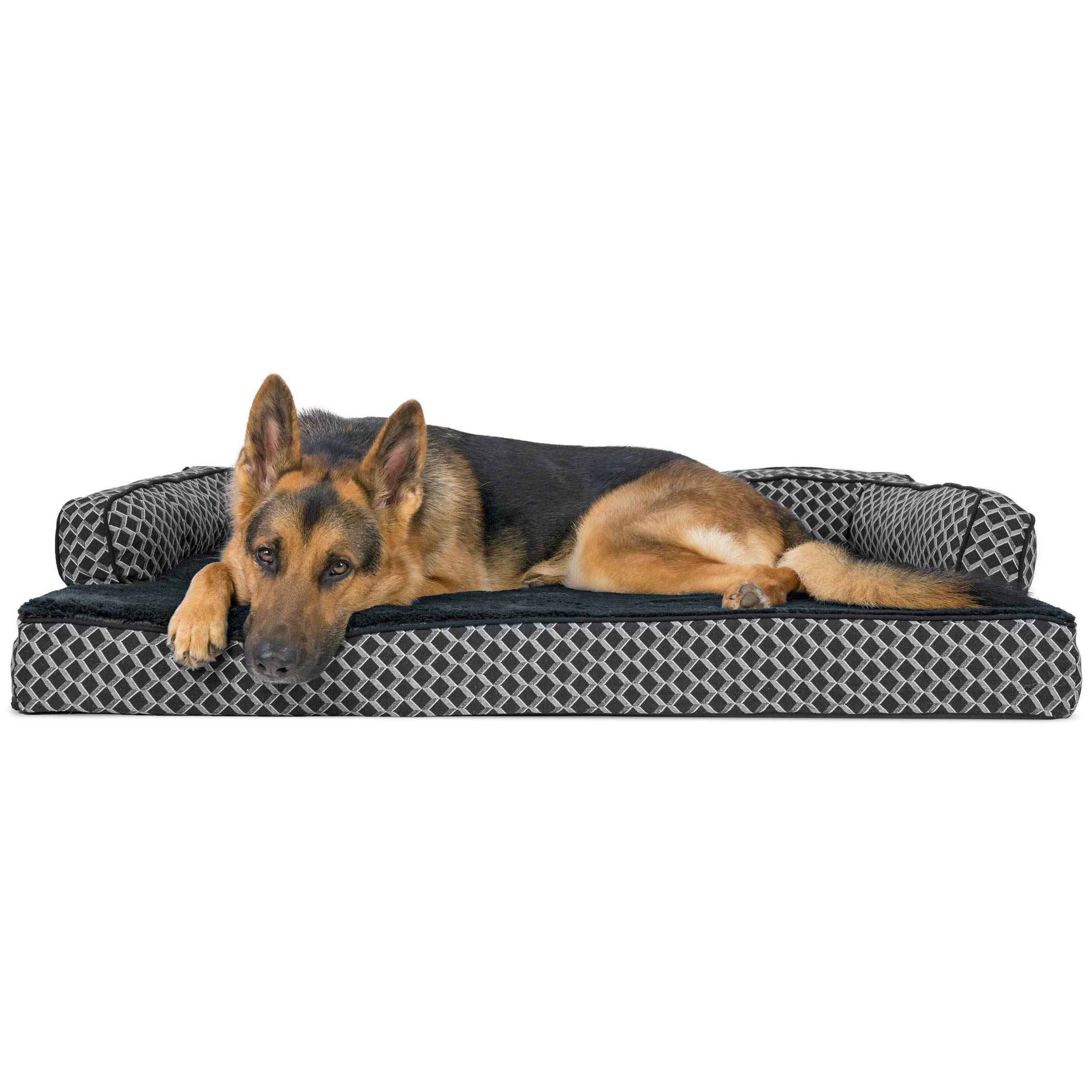 FurHaven Pet Dog Bed | Orthopedic Plush & Décor Comfy Couch Sofa-Style Pet Bed for Dogs & Cats, Diamond Gray, Jumbo by Furhaven Pet (Image #1)