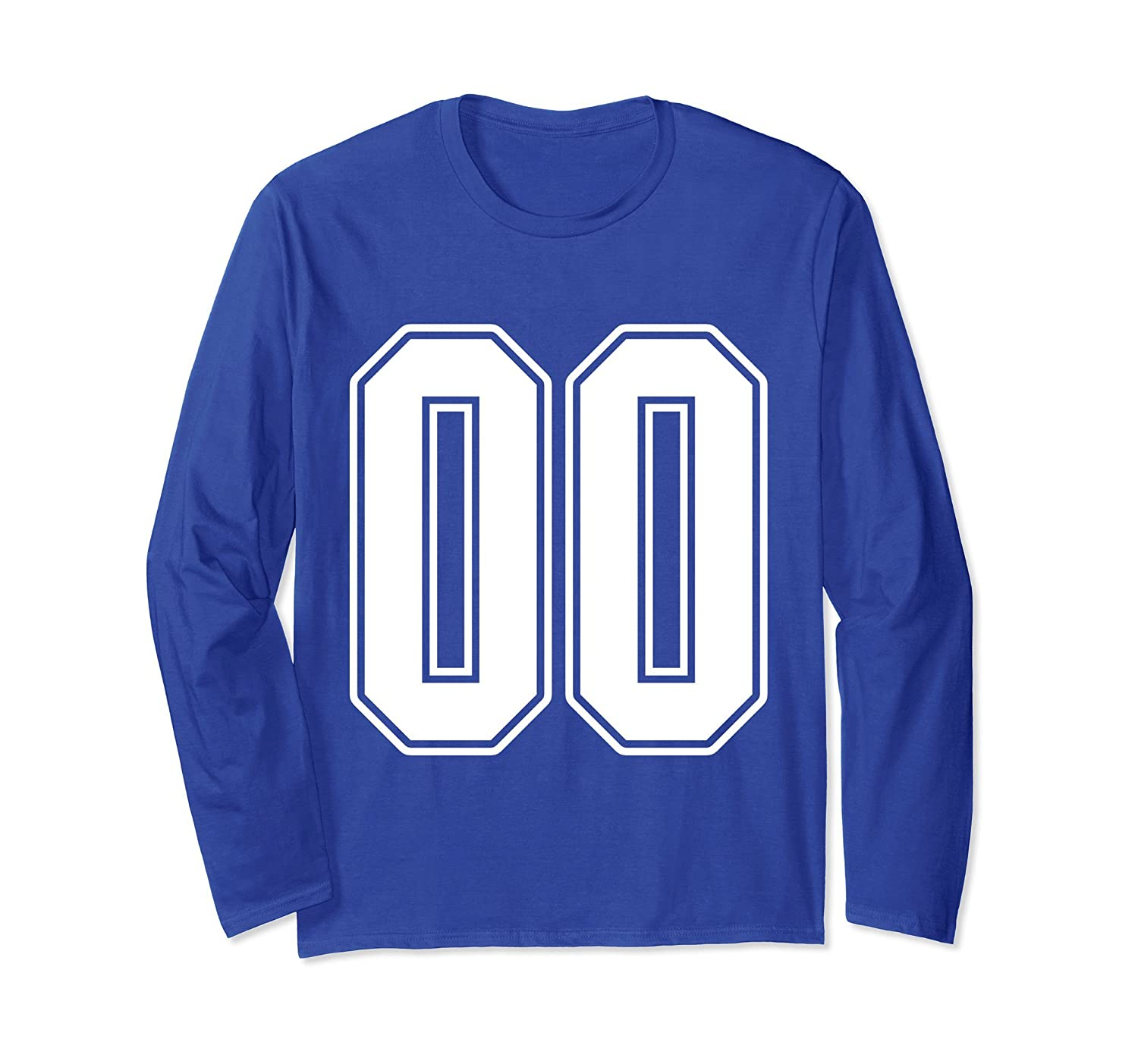 #00 White Outline Number 00 Sports Fan Jersey Long Sleeve-alottee gift
