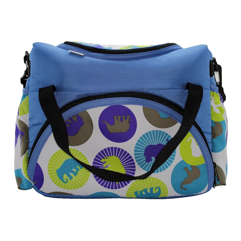 Wickeltasche Kinderwagentasche Babytasche Pflegetasche Windeltasche Baby (Blau Creme Frühling) Neumann Handelsvertrieb WICKNAP004