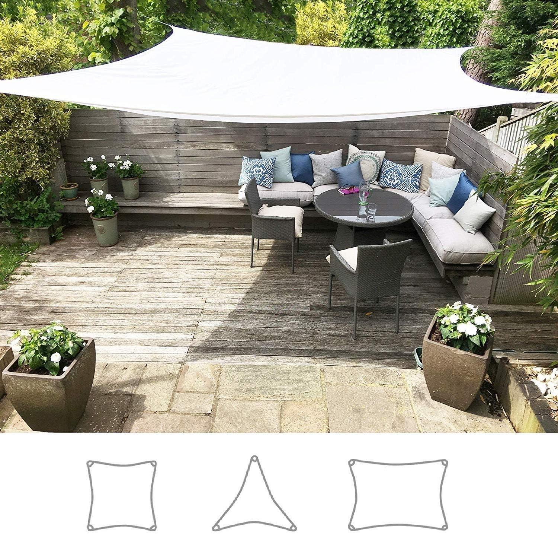 ZHhome Sombrilla Blanca Jardín Protector Solar Toldo Toldo UV Asiento Terraza Exterior Interior Libre Cuerda (Cuadrado 5 Metros): Amazon.es: Deportes y aire libre