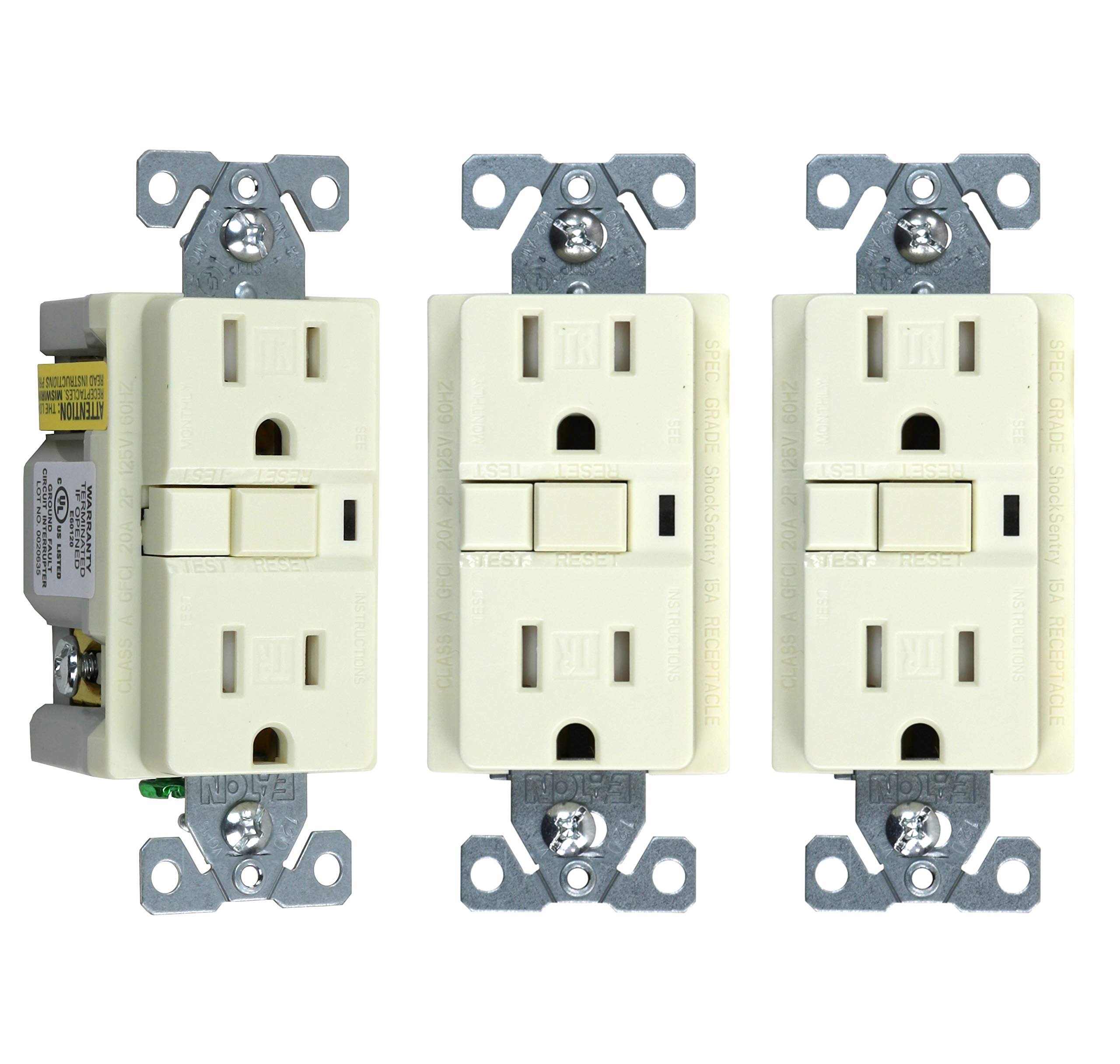 Cooper TRVGF15A Tamper-Resistant GFCI Decorator Outlet, Light Almond, 3-Pack