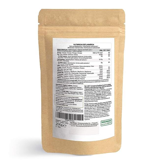 Cáscara de Psyllium Ecológico [99% Pureza] 200g | Psyllium Husk, Natural y Puro | 100% cutícula de semillas de Psilio Orgánico, producido en India. ...