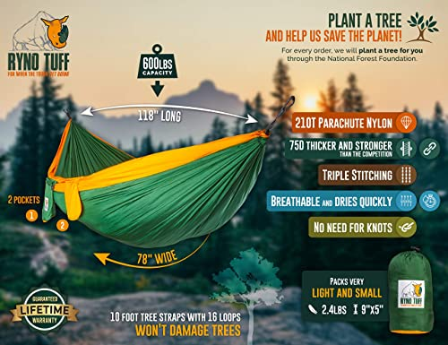 Ryno Tuff Camping Hammock – Double Hammock with Straps, Reinforced Not to Tear But Still Lightweight, Extra Pocket, Safe Tree Straps, and Heavy Duty Carabiners Included.