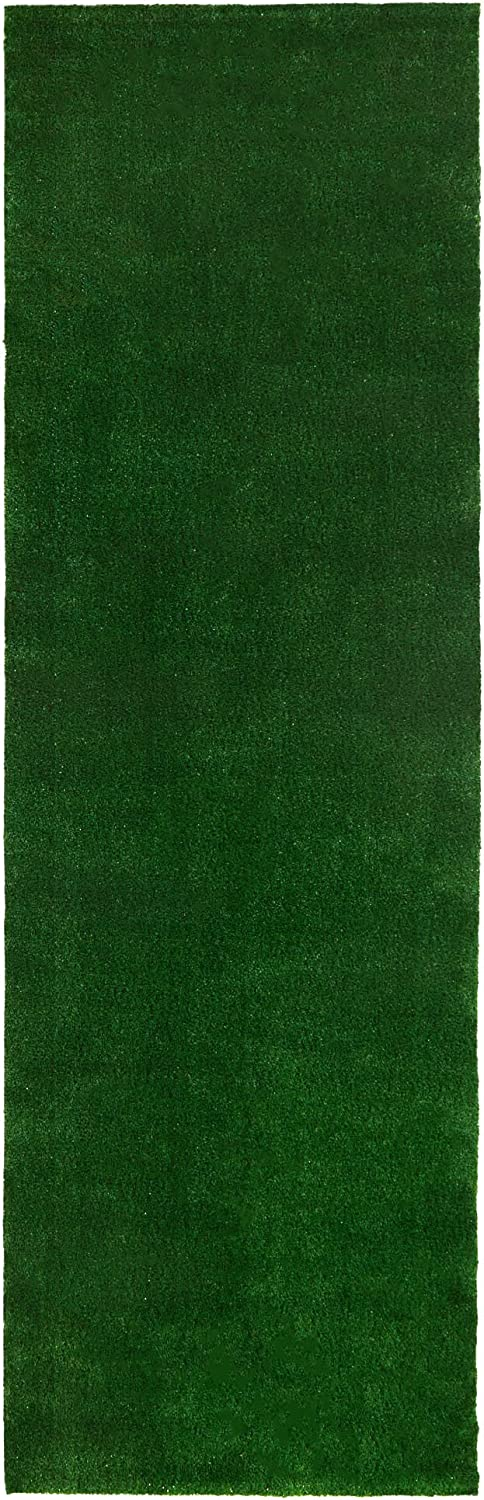 """Sweethome Meadowland Collection Indoor and Outdoor Green Artificial Grass Turf Runner Rug 2'7"""" X 9'10"""" Green Artificial Grass/Pet mat with Rubber Backed"""