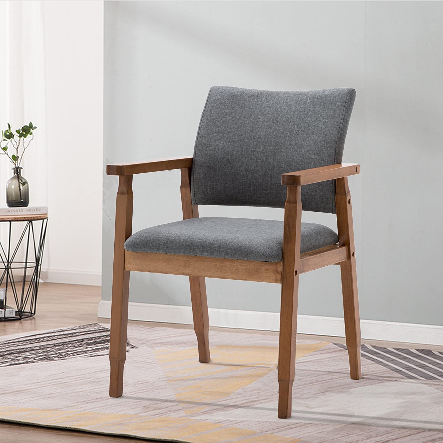 Amazon com mid century modern dining chairs wood arm gray fabric kitchen cafe living room decor furniture chairs