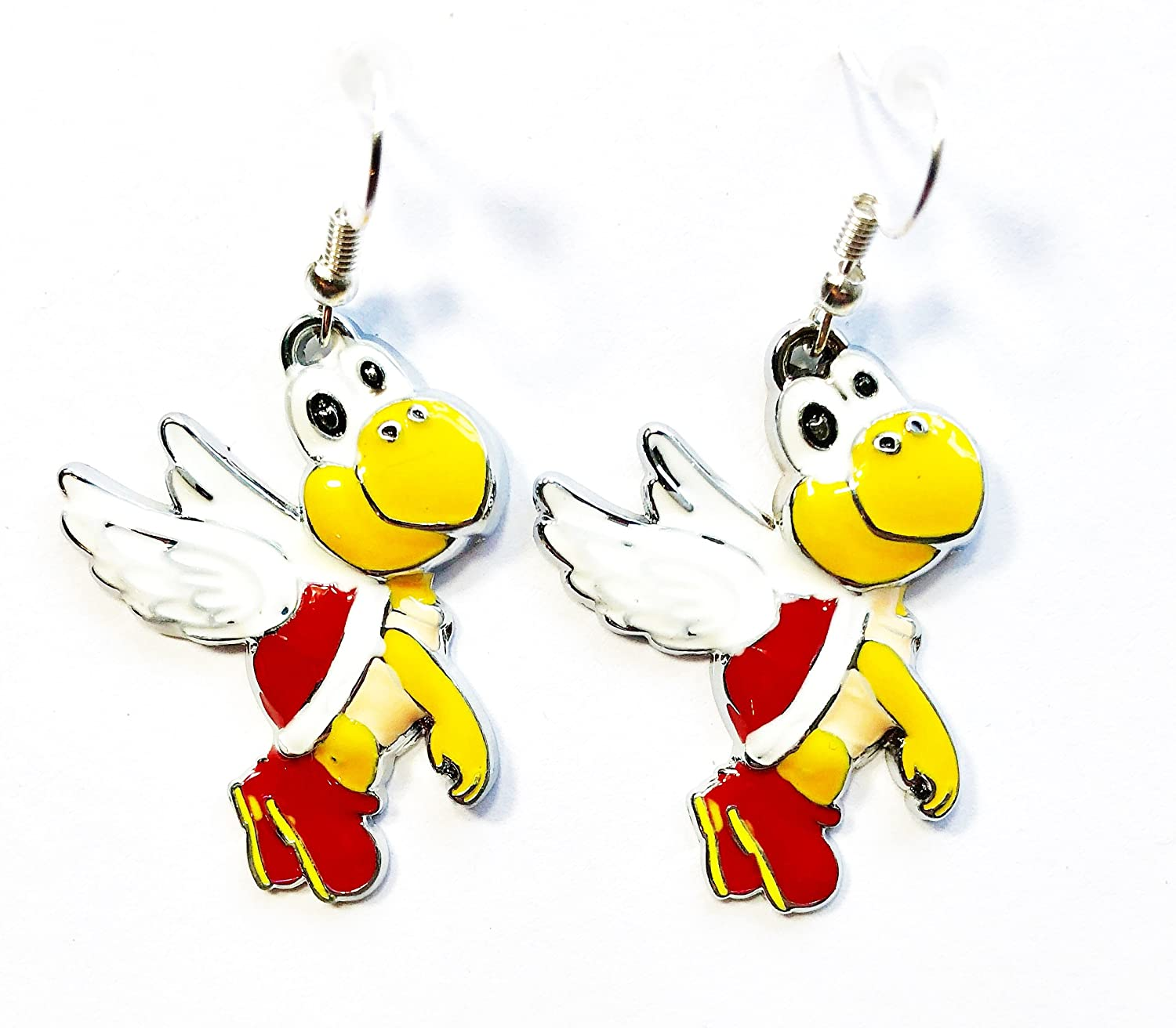 2 Pairs Super Mario Bros inspired Yoshi /& Koopa Trooper Character Dangle Hook Earrings With Gift Box