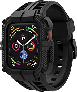 T-ENGINE Band Compatible with Apple Watch Band 44mm Series 4 Series 6/5/SE, TPU Rugged Sports Band with Full Protection Case for Men/Women, Black