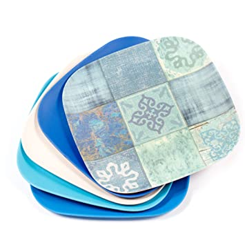 BeGrella 9.5\u0026quot; Dishwasher Safe Bamboo Fiber Square Plates ...  sc 1 st  Amazon UK & BeGrella 9.5\
