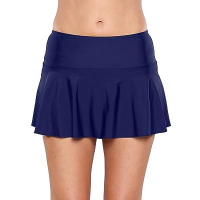 Lookbook Store Womens Ruffle Skirted Bikini Bottom Waistband Swim Skirt Swimsuit: Clothing