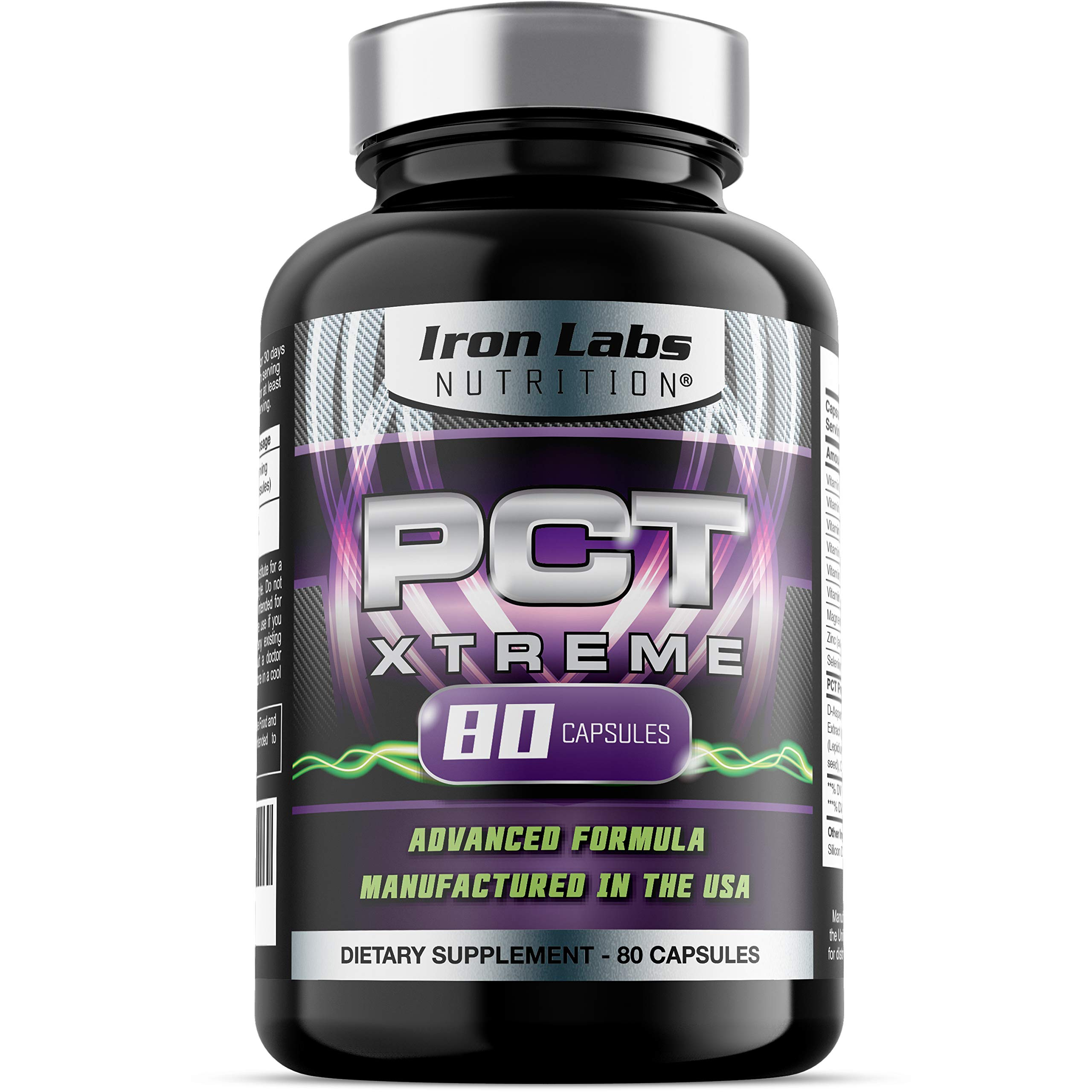 PCT Xtreme | 80 Capsules | Post Cycle Support & Natural Testosterone Booster | with an Exclusive Advanced Formula by Iron Labs Nutrition
