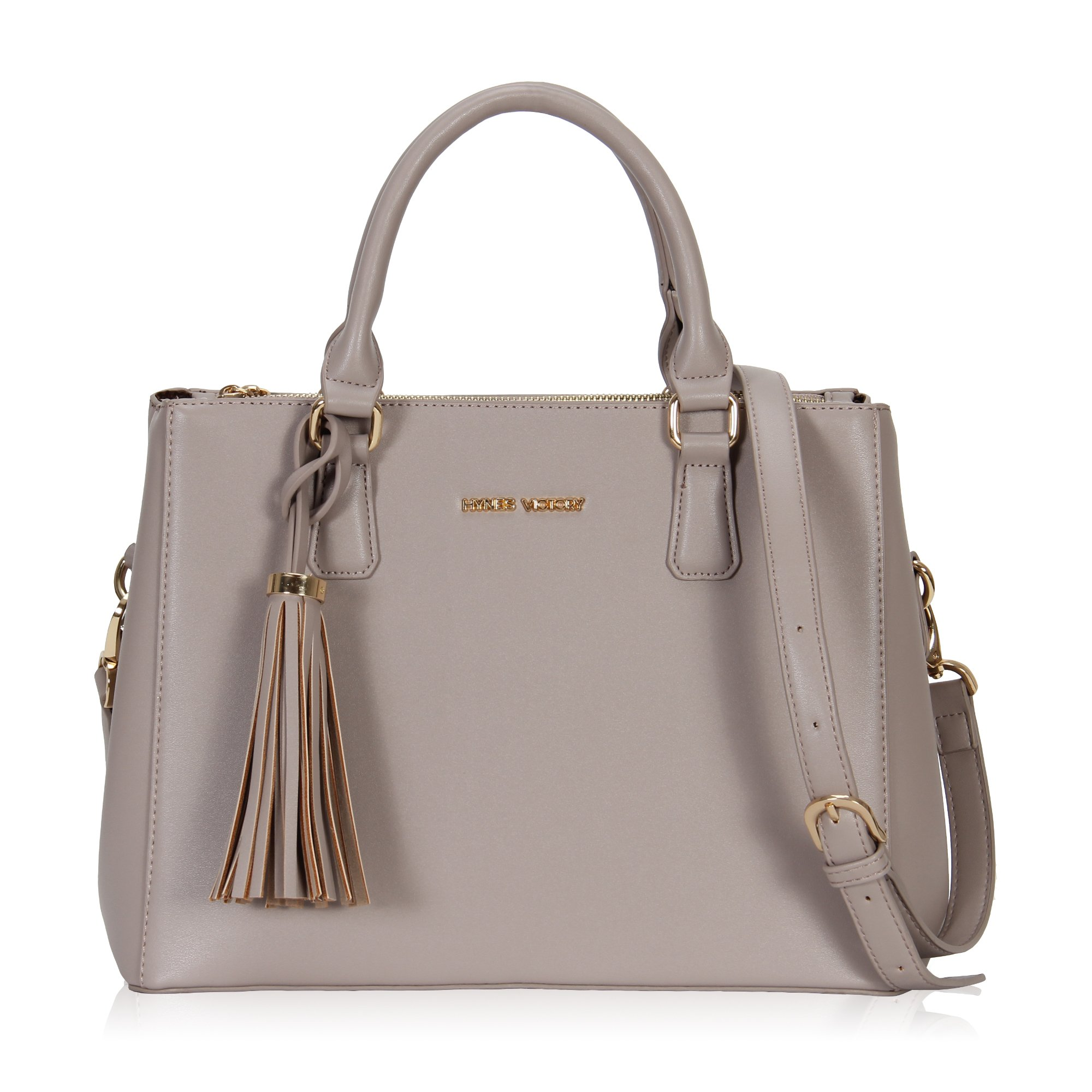 Hynes Victory Womens Classy Satchel Handbag Griege with tassel by Hynes Victory (Image #1)