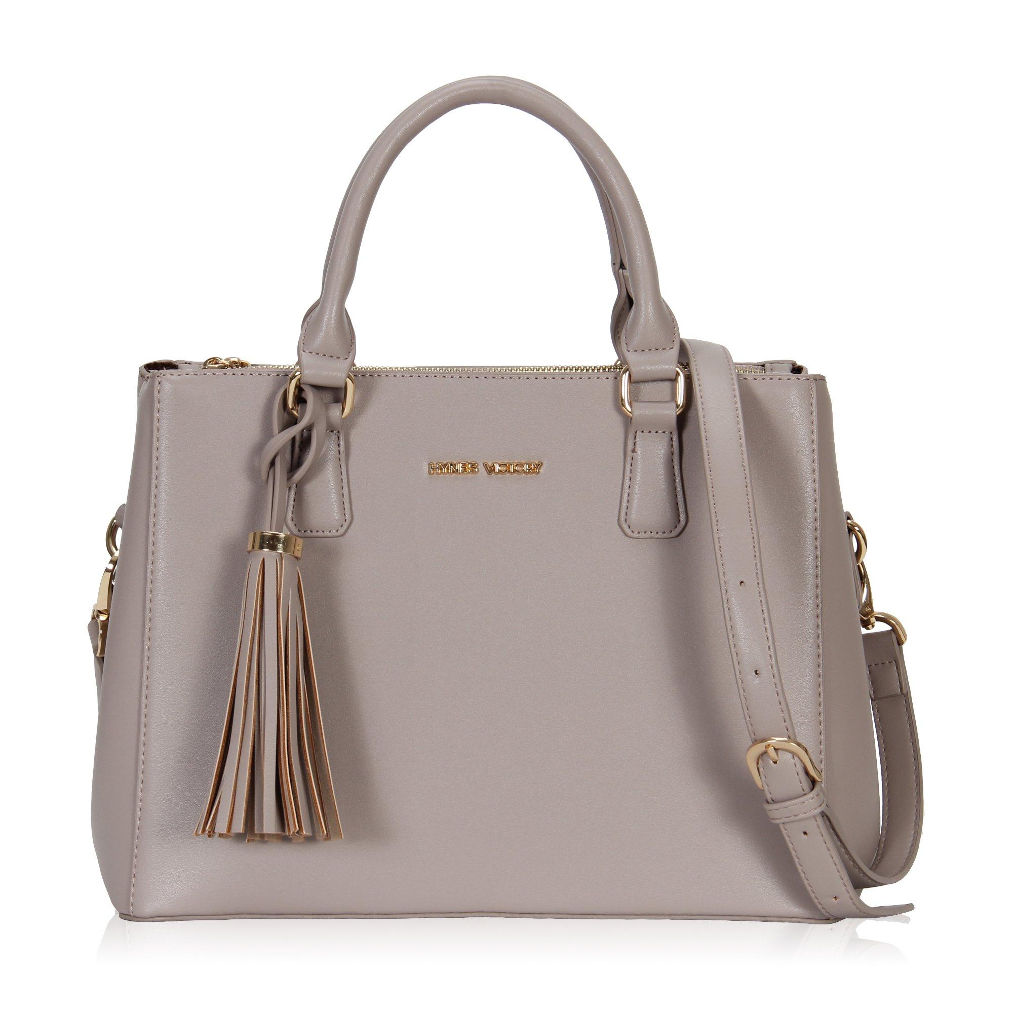 Hynes Victory Womens Classy Satchel Handbag Griege with tassel