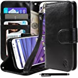 Motorola Moto G (3rd Gen) Case, Moto G3 Case, Style4U Premium PU Leather Stand Wallet Case with ID Credit Card / Cash Slots for Motorola Moto G (3rd Generation) / Moto G3 + 1 Stylus [Black]