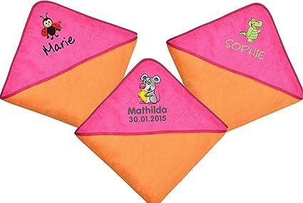 140 x 140 cm grande Toalla con capucha con nombre de color naranja-rosa personalizar