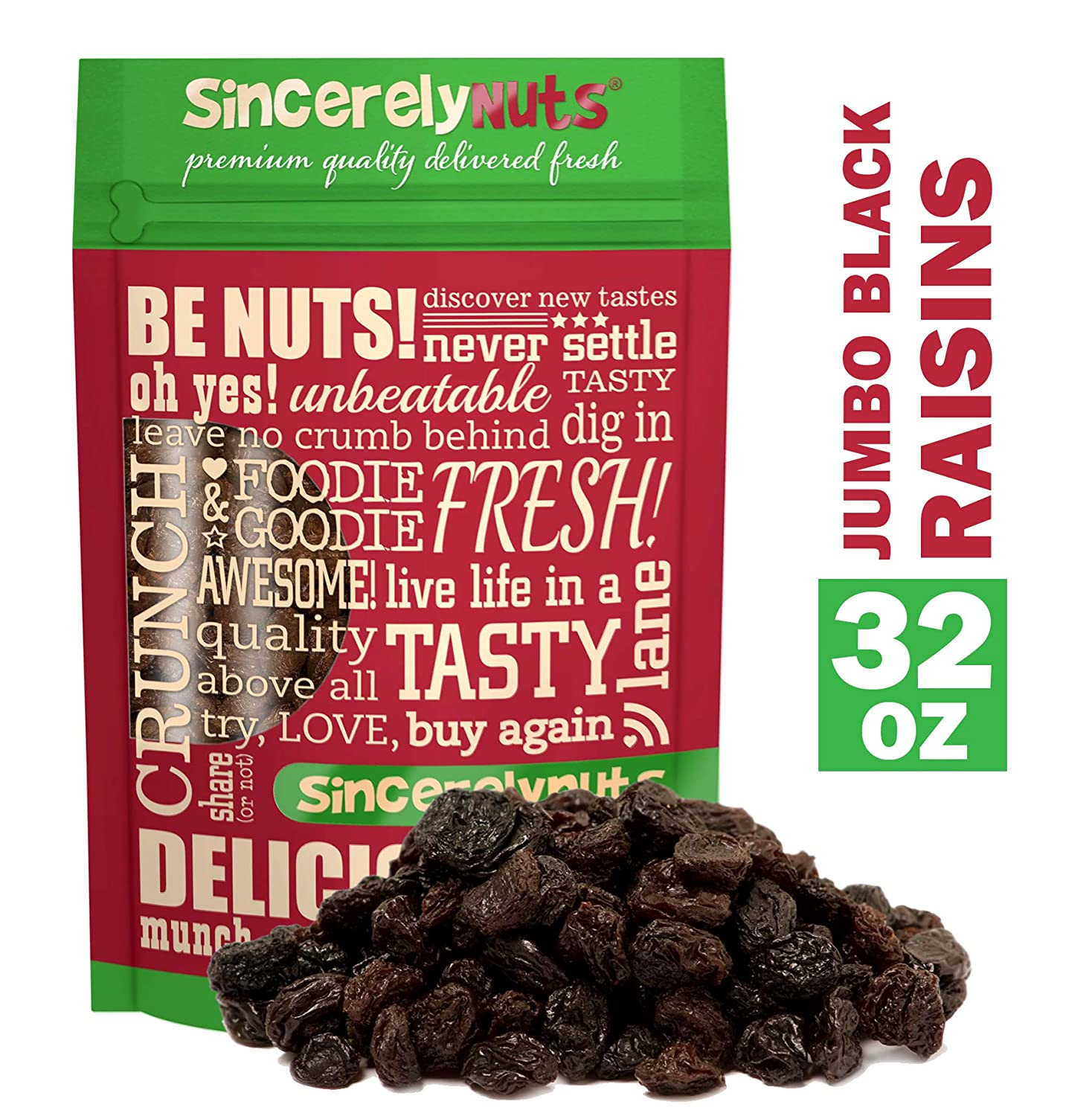 Sincerely Nuts Black Jumbo Raisins - Two Lb. Bag – Rich In Nutrients, Appetizingly Flavorful - Freshness Guaranteed – Kosher Certified