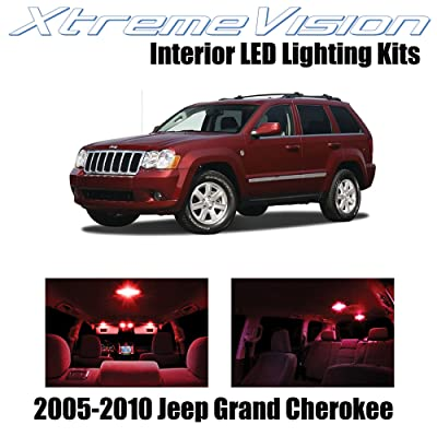 Xtremevision Interior LED for Jeep Grand Cherokee 2005-2010 (9 Pieces) Red Interior LED Kit + Installation Tool: Automotive
