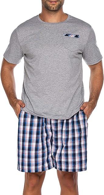 Pijama corto para hombre, pijama de noche de manga corta, traje corto de 2 piezas, incluye pantalones, parte superior para hombres en casa 5193-A gris ...