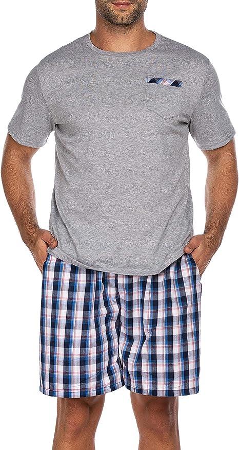 Pijama corto de dos piezas para hombre, pijama de noche, traje de manga corta, 2 piezas, incluye pantalón, parte superior para hombre en casa 5193-A ...