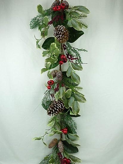Jmb Christmas Garland With Pomegranates Pine Eucalyptus Berries And Pinecones 52 52 Garland
