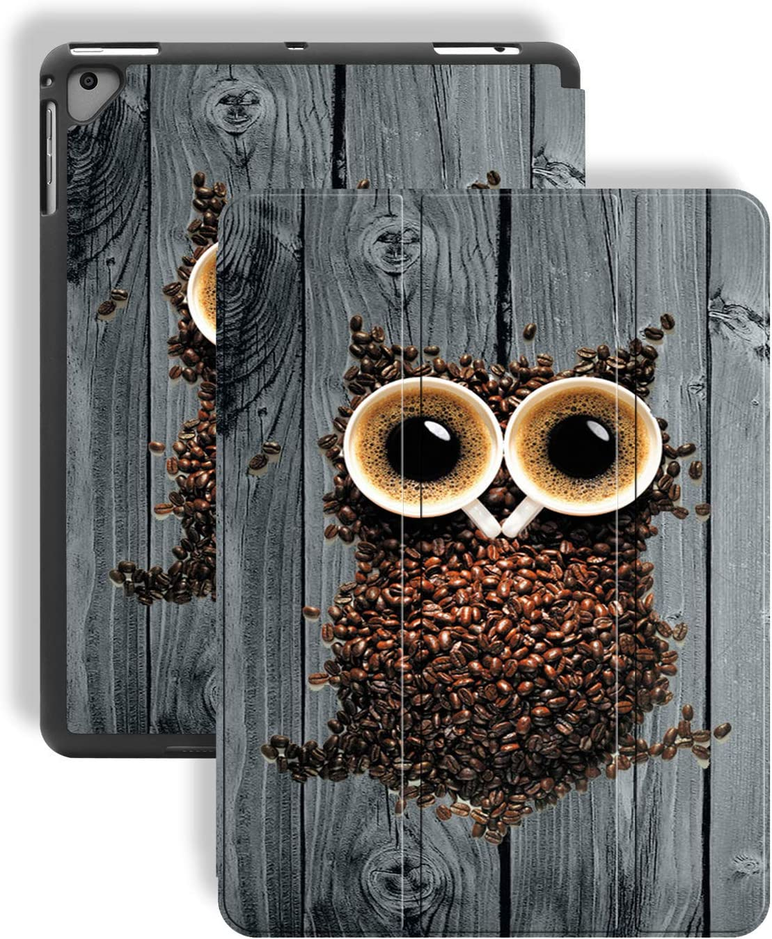 iPad 9.7 2018/2017/iPad Air 2 Case,Cute Coffee Owl on Wood Pattern PU Leather Slim Soft TPU Back with Pencil Holder Cover for iPad 9.7 Inch 5th/6th Generation(Auto Wake/Sleep)