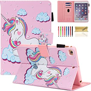 iPad Mini Case, Mini 2/3/4/5 Case, Dteck Slim Premium Leather Multi-Angle Stand Folio Smart with Auto Wake/Sleep Soft Back Cover for Apple iPad Mini 5th Gen 2019/Mini 4/Mini 3/Mini 2, Pink Unicorn