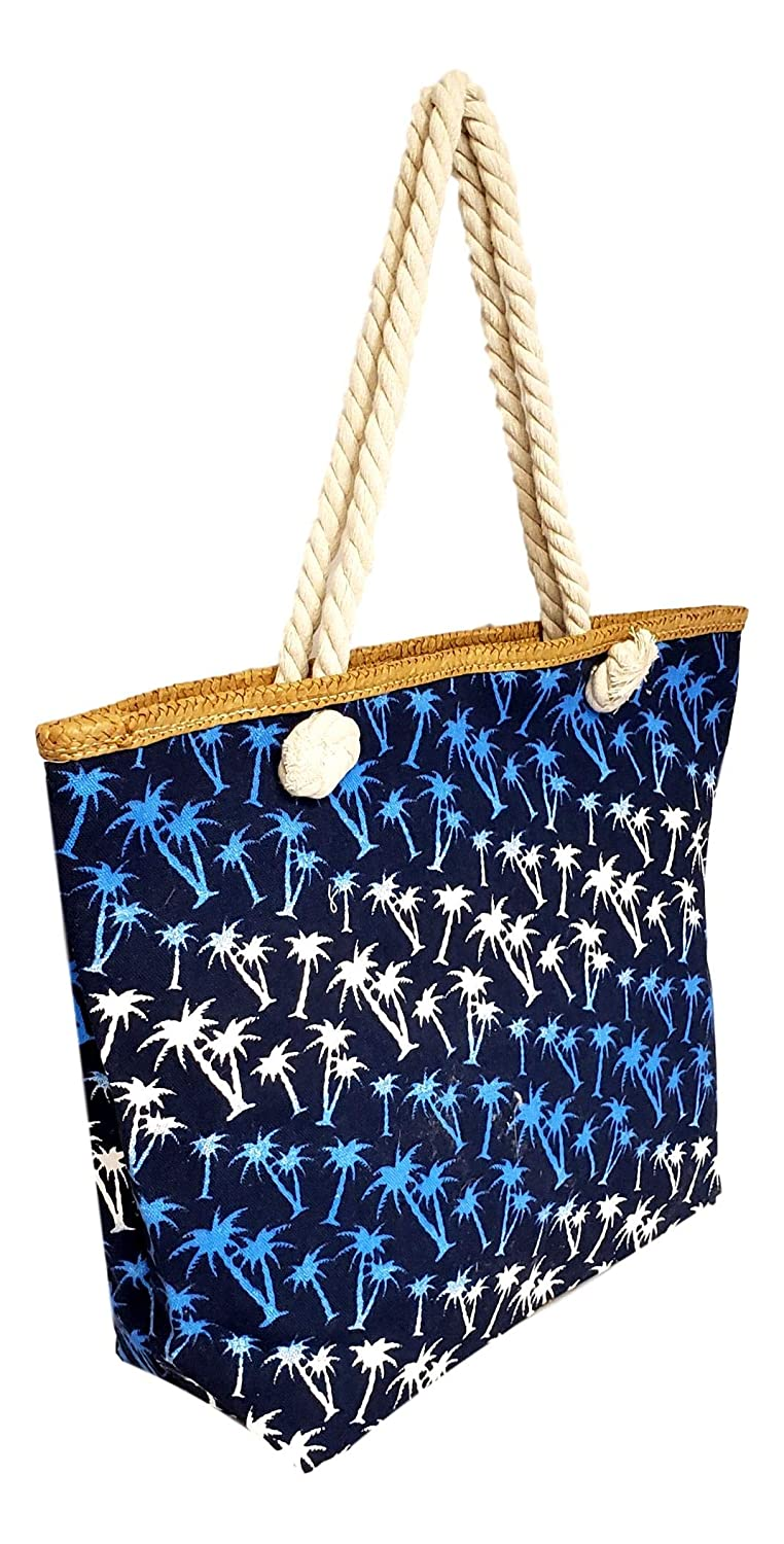 Palm Tree Large Canvas Shoulder Tote Bag with Zipper