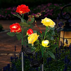 FORUP 2 Pack Solar Garden Stake Lights, Outdoor Solar Rose Flower Lights with 6 Rose Flowers, LED Rose Solar Powered Lights for Patio, Lawn, Garden, Yard Decoration (Red & Yellow)
