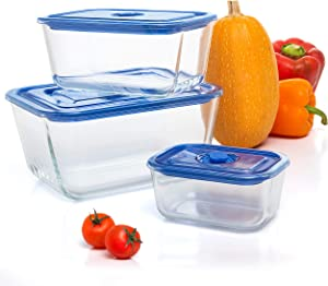 Extra Large Glass Food Storage Containers Set Of 3 101 OZ/ 54 OZ/ 16 OZ Vacuum Sealed Rectangular Glass Food Container with Lid, Leak Proof - Microwave, Dishwasher, and Oven Safe By Moss & Stone.