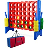 Giant 4 in a Row Connect Game - Storage Carry Bag Included - 4 Feet Wide by 3.5 Feet Tall - Oversized Floor Activity for Kids