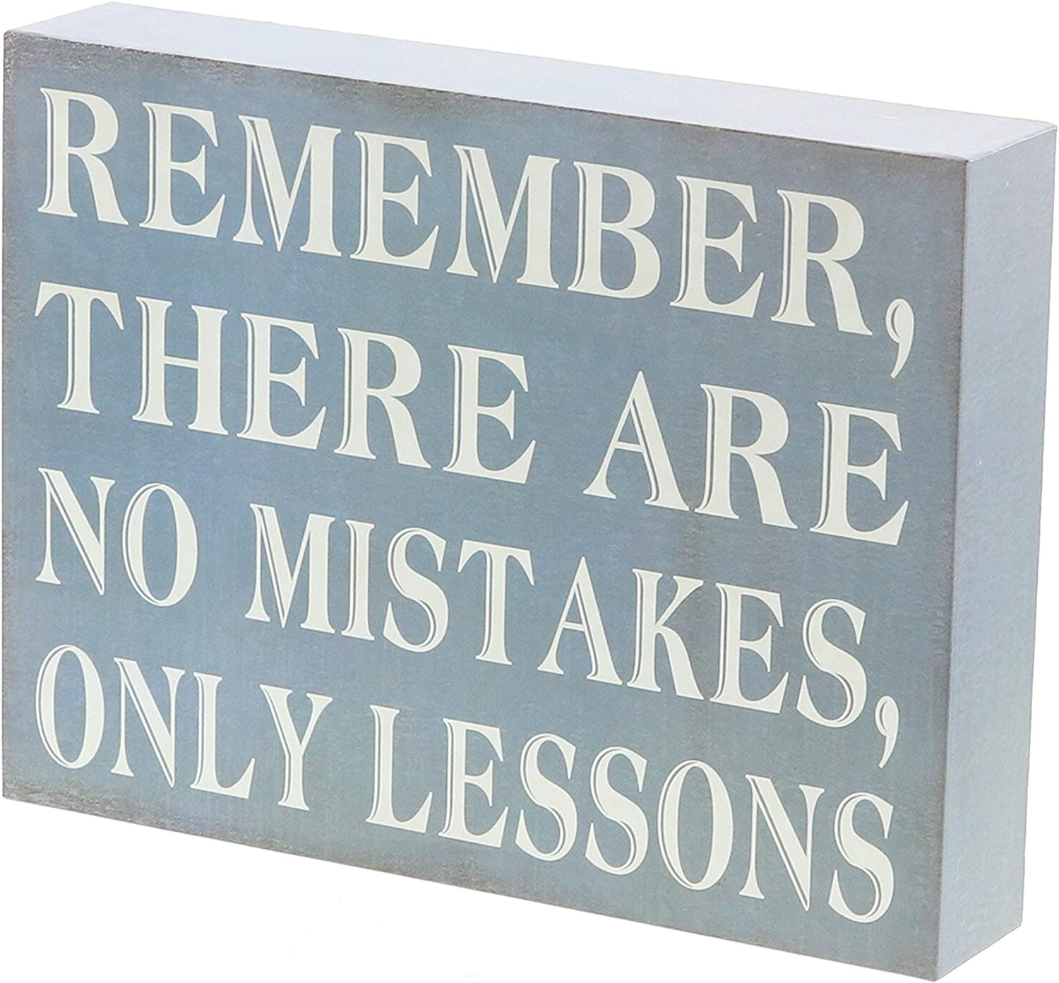 "Barnyard Designs Remember There are No Mistakes Only Lessons Box Sign Primitive Country Motivational Inspirational Quote Sign Home and Office Decor 8"" x 6"""
