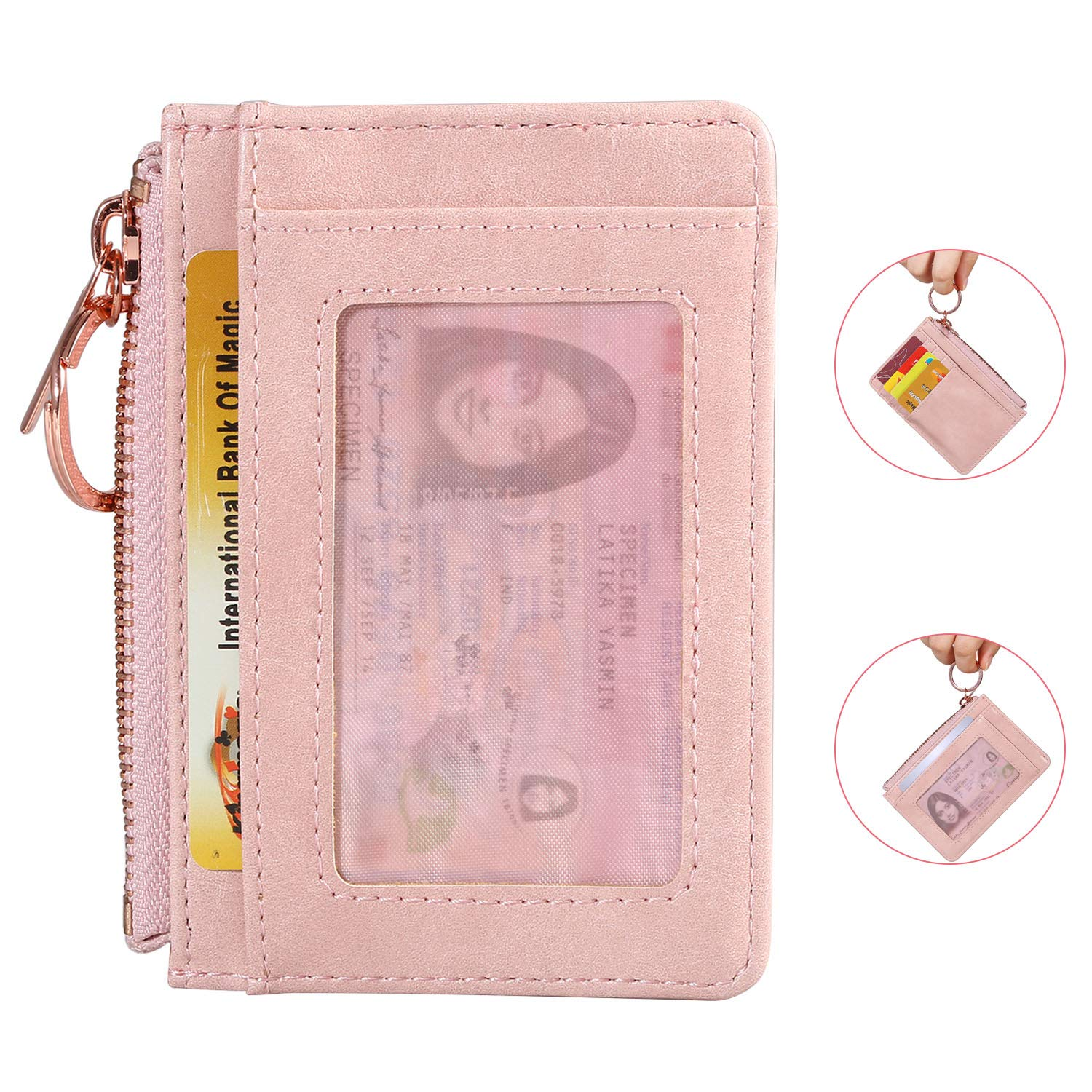 Expouch Key Wallet PU Leather Credit Card Case Wallet Lanyard Coins Purse with ID Window