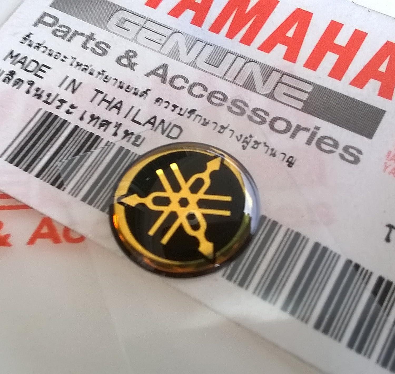 Yamaha 100% Genuine 12mm Diameter Yamaha Tuning Fork Decal Sticker Emblem Logo Gold/Black Raised Domed Gel Resin Self Adhesive Motorcycle/Jet Ski/ATV/Snowmobile