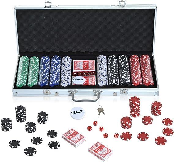 HOMCOM Maletín de Poker Profesional con 500 Fichas y 2 Barajas Juego Set de Poker Casino Aluminio 5 Dados, 2 Barajas y 1 Ficha de Crupier: Amazon.es: Juguetes y juegos