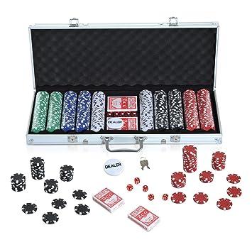 HOMCOM Maletín de Poker Profesional Juego Set de Poker Casino Aluminio 300 Fichas / 500 Fichas