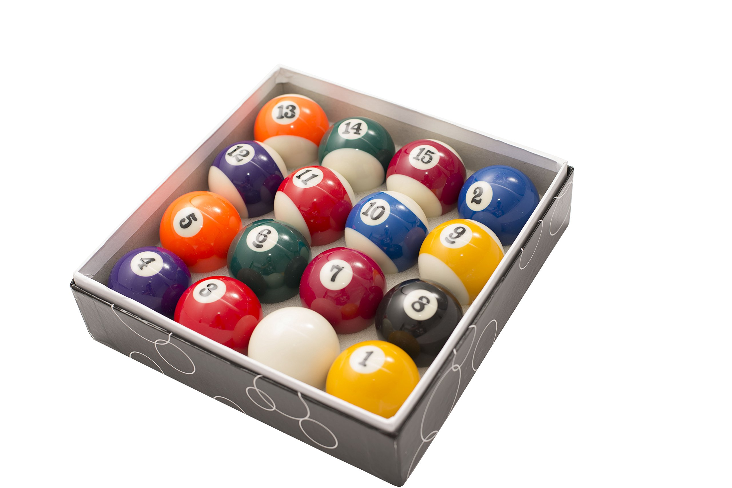 2 1/4 Inch Standard American Pool Table Billiard Ball Set Precision Engineered by Transcend United